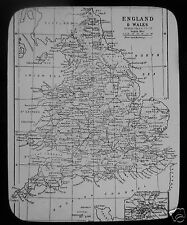 Glass Magic Lantern Slide MAP OF ENGLAND AND WALES C1900