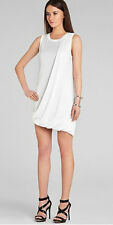 $198 BCBG WHITE (EVIE) ASYMMETRICAL DRAPED JERSEY SLEEVELESS DRESS NWT LP