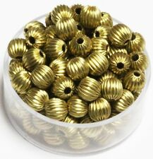6 MM Solid Brass Round Corrugated Hollow Beads  Pkg. 50 p.  , USA