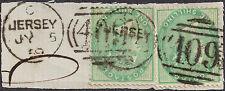 GB 1855 1s x 2 Victoria (1840-1901) sg 72 piece 409 Jersey 5 Jul 1859 duplex