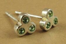 GREEN Crystal Orecchini, realizzati con elementi swarovski. studs.sterling ARGENTO