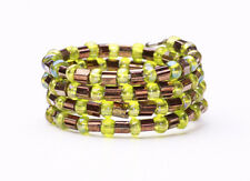 HIPPY STYLE BROWN/GREEN BEADED FLEXIBLE RING ETHNIC CHIC NICE GIFT IDEA (ZX16)