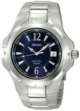 SEIKO COUTURA DRESS DATE BLUE DIAL STAINLESS STEEL MEN'S WATCH SGEE67 NEW