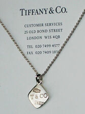 Tiffany & Co 1837 Sterling Silver Diamond Shaped Necklace