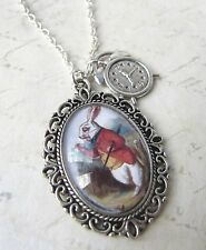 "Vintage Silver Alice in Wonderland White Rabbit ""I'm Late"" Clock Necklace New"