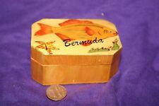 Vintage Wood Trinket Box Hand painted fish bermuda