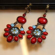 Boucles d`Oreilles Clips Pendante Bleu Rouge Ethnic Fleur Vintage Cadeau EE 1