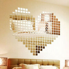 Square 2cm Mirror Style Removable Decal Art Mural Wall Sticker Home Decor NEW