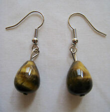 Tiger's Eye Stone Gemstone Healing Chakra Teardrop Dangle Bead Hook Earrings $25