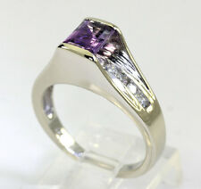 Diamond amethyst ring 14K white gold round brilliants & emerald cut .90CT size 7