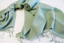 H181  NWT Gorgeous Sage Color Pashmina/Silk  Shawl/Wrap Handmade In Nepal