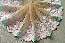 """1Y~5""""~ Venise Embroidered Trim Lace Rose Bunch Dolls Dress Applique Pink & Green"""