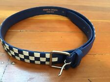 Comme des Garcons Homme Plus Men's Royal Blue & White Check Leather Belt Sz 79