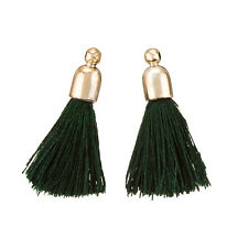 Dark Green Cotton Tassel Charms & Gold Plated Cap Pack of 2 (K70/3)