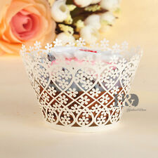 60pcs Ivory Cut Snowflake Cupcake Wraps Wedding Birthday Cup Cake Wrappers Cases