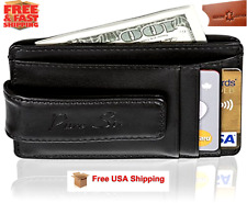 Mens Genuine Leather Wallet Slim Money Clip Credit Card ID Holder RFID Blocking
