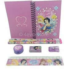 (8ct) Disney Princess Pencils, Ruler, Eraser, Notebook Teen Girls Stationary Set