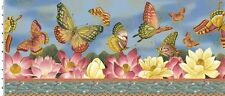 Fabric #2494 Pink/Cream  Butterfly Floral Border Kona Bay Sold by 1/2 Yard