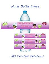 Spa Theme Water Bottle Labels, Spa, Birthday, Sleep over Party, Diva Party