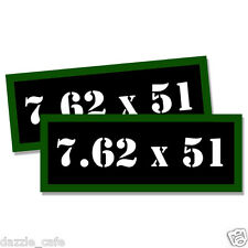 """7.62 X 51 Ammo Can 2x Labels Ammunition Case 3""""x1.15"""" stickers decals 2 pack"""
