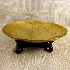 Vintage Engraved Chinese Brass Dragon Bowl & Wooden Stand Dish Centrepiece