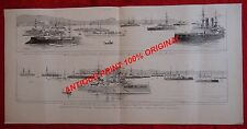 NAVAL SQUADRON FRANCE RUSSIA CANEE Chania CRETE GREECE ANTIQUE OLD PRINT 1897