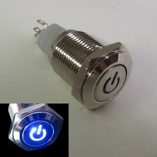 16mm 12V BLUE Led Lighted Push Button Metal Momentary Switch for Car Boats DIY
