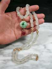 CHINESE TYPE A GREEN JADEITE JADE 17.5c RUBY ROCK CRYSTAL BEAD 14K GOLD NECKLACE