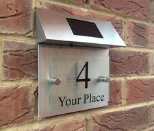 MODERN HOUSE SIGN PLAQUE DOOR NUMBER STREET GLASS ALUMINIUM EFFECT SOLAR LIGHT