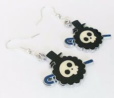 Anime Skull Skeleton charm pirate hat brook black emo earrings one piece gothic