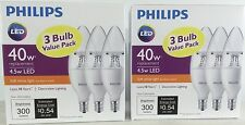 Pack Of 3 LED Light Bulbs Philips 4.5w = 40W Soft White Candelabra Base
