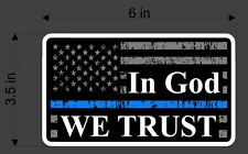 Support Police Thin Blue Line American Flag Decal x2 Two In God We Trust sticker