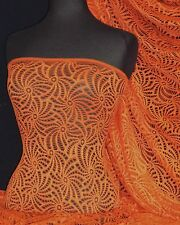 Knit Knitted Crochet Stretch Fabric Material Orange KNT39 OR