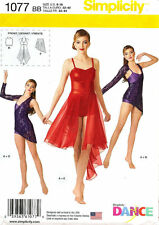 Simplicity 1077 Girls Misses Dance Wear Bodysuit Skirts Top Leotard Pattern 6-16