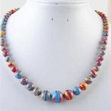 "Beautiful!6-14m​m Multicolor Turquoise Beads Necklace 18""AAA+008"