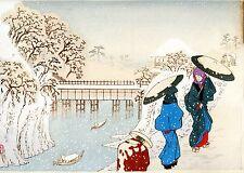 """Hiroshige Tribute  woodblock print ORIGINAL Japanese Ukiyoe 1896 """"Ochanomizu"""""""