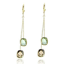 14K Yellow Gold Dangle Earrings With Smoky Topaz And Green Amethyst Gemstones