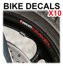 10X DUCATI DIAVEL MOTORCYCLE BIKE WHEEL STICKERS DECALS TAPE RIMS