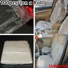 DISPOSABLE PLASTIC CAR SEAT COVERS VEHICLE PROTECTORS MECHANIC VALET ROLL 100pcs