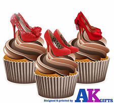 Sexy Red Shoes High Heels Birthday Party 12 Cup Cake Toppers Edible Decorations