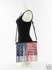 Fringe American Flag Cross Body Bag Clutch Removable Straps Handbag Republic BLK