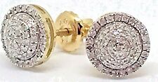 Mens Ladies 10K Yellow Gold 3D Circle Real Diamonds Domed Stud Earrings 0.25 Ct