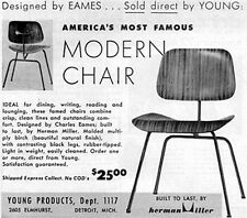 Eames Molded Plywood Chair HERMAN MILLER Mid-Century Modern 1953 Print Ad