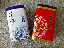 2 CHINESE BLUE WHITE RED L CANISTER TIN CADDY TEA SUGAR COFFE STORAGE BOX A9