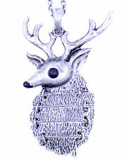 Vintage style silver reindeer charm necklace cool gear