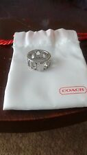 """Coach Silver Pierced Signature """"C"""" Paved Crystal Band Ring Size 5"""