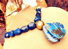 GENUINE LAPIS LAZULI Real Stone NECKLACE BLUE BRUSHED GOLD Matrix JASPER Pendant