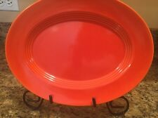 "VINTAGE RED Harlequin 11"" OVAL SERVING PLATTER HOMER LAUGHLIN FIESTA"