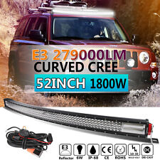 E3 CURVED 52Inch 1800W CREE Led Spot Flood Combo Quad Rows Light Bar Driving 54""