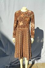 Vintage Averardo Bessi Italy silk jersey dress Sz 12 floral pattern browns used
